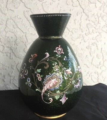 Moser Bohemian Antique Art Glass Vase Dark Forest Green Enamel