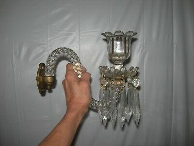 Exquisite PAIR Antique Crystal S-Swivel Arm Wall Sconces~Prisms~Candle Holders
