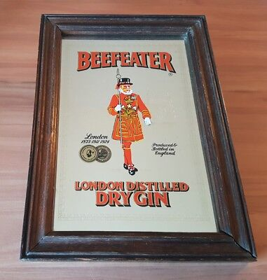 Vintage Beefeater London Distilled Dry Gin Advertising Bar Mirror Collectable