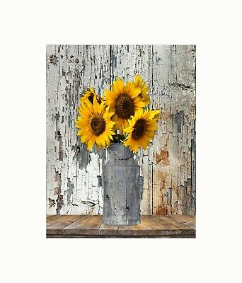 Rustic Fl Country Farmhouse Sunflower Home Decor Matted Wall Picture