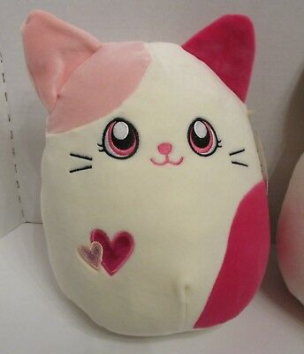 "New Squishmallow Calico Cat Valentine Pink Roxy 10"" Plush Pillow NWT"