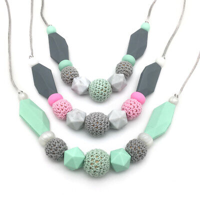 Geometric Silicone Teething Necklace Toy Wood Crochet Beads Baby Teether Pendant