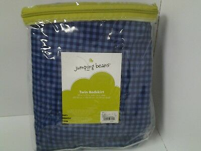 Jumping Beans Twim Bedskirt Navy Blue & Light Blue Plaid 39 X 75 inches 14 inch