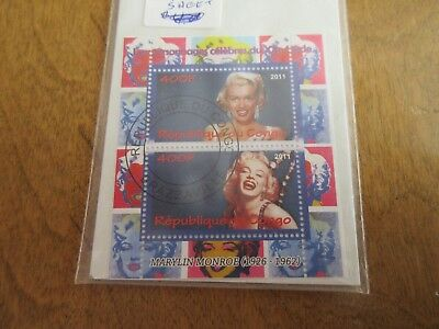 2011 MARYLIN MONROE republic of congo used stamp sheet movie star 2 1/2 x 3