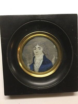 Antique Miniature Portrait Well Dressed Young Man 18th Century