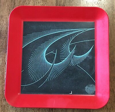 1954 Waverly Products Red Kartell Style Patterned Bakelite Tray Platter Art Deco