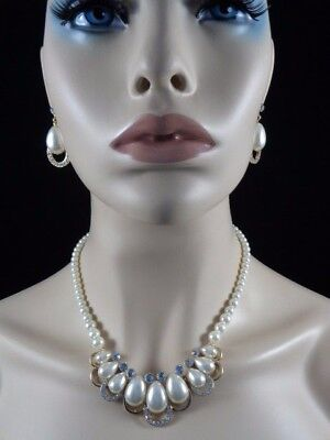 Jewelry-Set-Necklacet+Earring+Pearl-Bridal_Fashion-GOLD/Cream