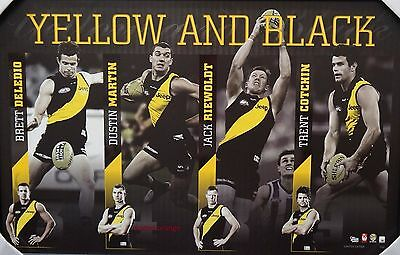 Richmond Yellow And Black Print Framed - 2017 Premiers Cotchin, Martin, Riewoldt