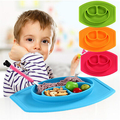 Cute Silicone Mat Baby Kids Table Food Tray Placemat Dinner Plate Divided Bowl