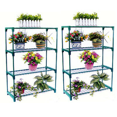 2X 4 Tier Steel Mini Garden Greenhouse Staging Shelving Plant Stand New