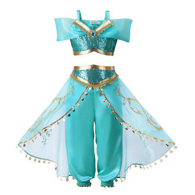 Kids Aladdin Costume Princess Jasmine Cosplay Outfit Girls Sequin Fancy Dress