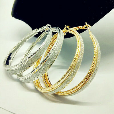Big Gold Sliver Plated Hoop Earrings Large Circle Chic Hoops Gift Bling 5.5cm