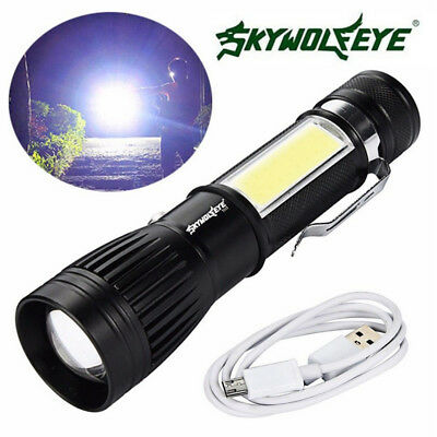 New T6 COB Flashlight Zoomable LED Torch 18650 USB Rechargeable Light Lamp