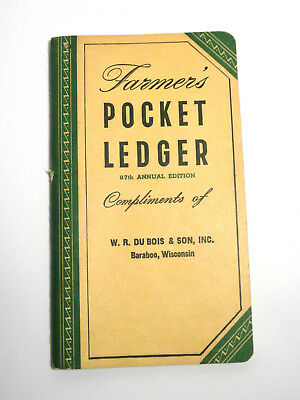 Vintage John Deere Farmers Pocket Ledger 1953-54 Green/Yellow Unused Collectible