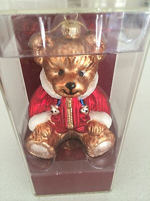 HARRODS Christmas 2007 Glass Bauble Benjamin Bear Ornament New Limited Edition