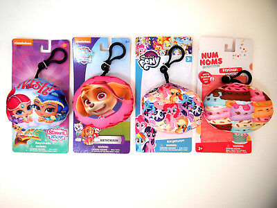 4 New Backpack Clip Plush Keychains Shimmer & Shine Skye My Little Pony Num Noms