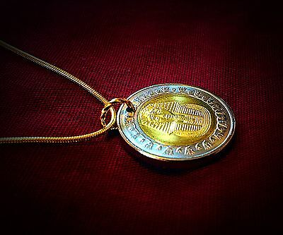 HandMade King Tut Egyptian Pound Coin Silver/gold Plated 2 Necklaces And Pendant