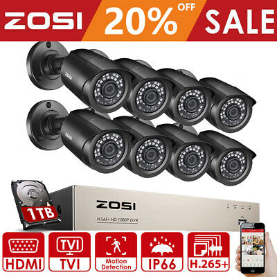 ZOSI 720P 1080P HDMI HD-TVI Video 8CH Dome DVR CCTV Security Camera System 1TB