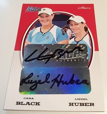 Cara BLACK Liezel HUBER Ace Authentic Gran Slam II Autograph card #S20 Auto