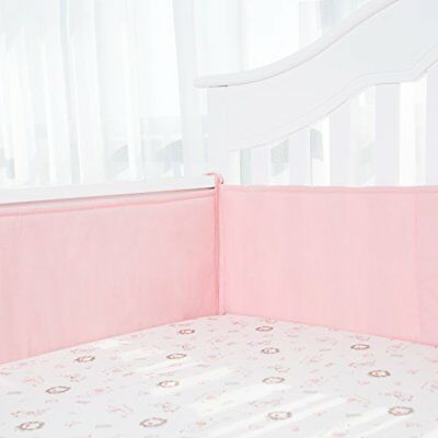 TILLYOU Padded Crib Bumper Set for Baby Girls Premium Woven Cotton and Breath...