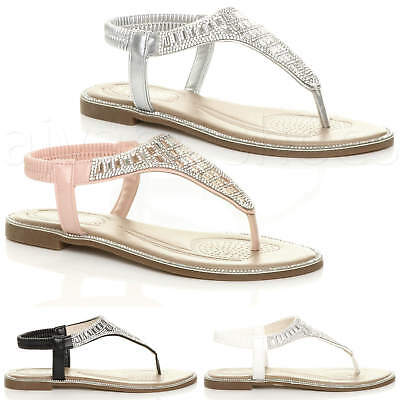00961988ce1d Womens Ladies Flat Diamante T-Bar Toe Post Sparkly Party Slingback Sandals  Size