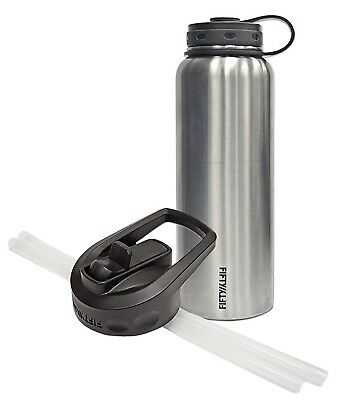 (1180ml and Straw Cap, Stainless Steel) - Fifty/Fifty Stainless Steel