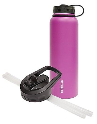(1180ml and Straw Cap, Pink) - Fifty/Fifty Pink Vacuum-Insulated Stainless
