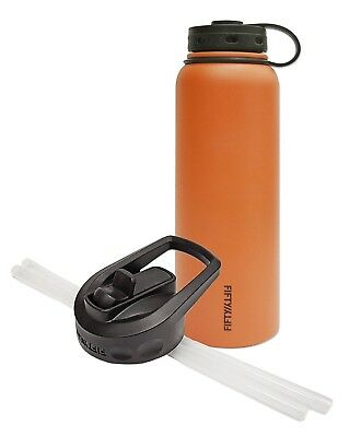 (1180ml and Straw Cap, Orange) - Fifty/Fifty Orange Vacuum-Insulated Stainless