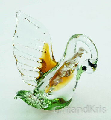 Figurine Hand Blown Glass Swan Bird Cleaning His Feathers No Painted - GG002