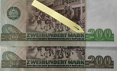 Banknote - 200 Mark der DDR, Ro. 364a, Fehldruck, wrong printing, UNC, 1985