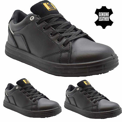 Mens Black Leather Lightweight Steel Toe Cap Safety Trainers Shoe Boot Size 6-14