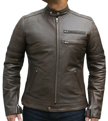 Mens Fashions Vintage Style Antique Olive leather Jacket Colour Cuff in all size