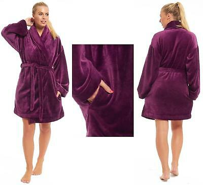 LADIES WOMENS MARKS and Spencer Fleece Dressing Gown Purple Shawl ...