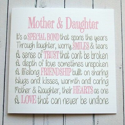 MOTHERS DAY CARD Mothers Day Birthday Card MOTHER DAUGHTER