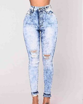 Jeans Women Plus Size Hole Stretch Frayed Ripped Skinny Denim Pants Trousers