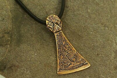 Viking Pendant Axe Blade Big Bronze Viking Jewellery with Leather Strap Axe Set