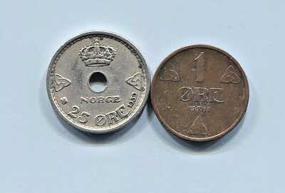 Norway - Two Beautiful Historical Haakon Vii Coins: 1911 1  Øre & 1939 25  Øre