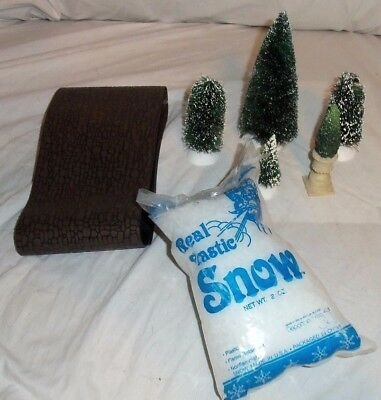 Dept 56 Lot Of 4 Snow Covered Trees, Cobblestone, Bag Of Snow, Topiary