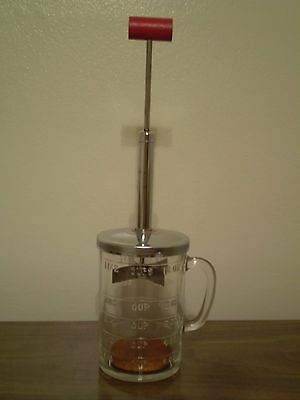"Vintage Glass & Metal ""pamco"" Food/nut Chopper With Red Wooden Handle"