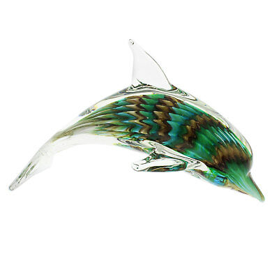 Dolphin Glass Animal Paperweight Figurine Bathroom Decor Gift Ornament Colourful