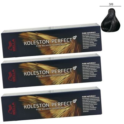 3 x Wella Koleston Perfect ME Pure Naturals 60 ml Set - 3/0 dunkelbraun