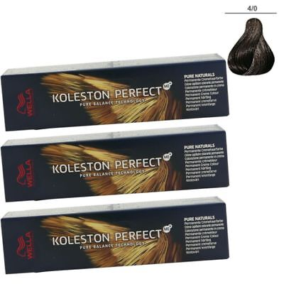 3 x Wella Koleston Perfect ME Pure Naturals 60 ml Set - 4/0 mittelbraun