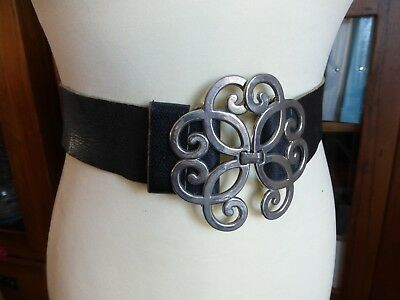Vintage 90s black leather large buckle waist belt 12 14 16 Clueless style