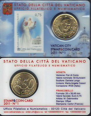 Vatican 2011 Beatification of Pope John Paul II Stamp and Coin Card