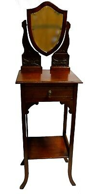 Antique Eastlake Transitional Walnut Shaving Stand, w/ Single Drawer & Shelf