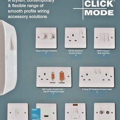 Click Mode White Moulded Light Switches & Sockets - Full Range 20 Year Guarantee