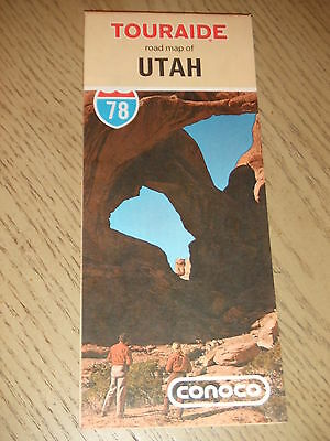 VINTAGE 1978 Conoco Oil Gas Utah State Highway Road Map Touraide Bryce Zion Salt