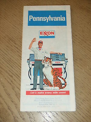 VINTAGE 1981 Exxon Oil Gas Pennsylvania State Highway Road Map Pittsburgh STAMP