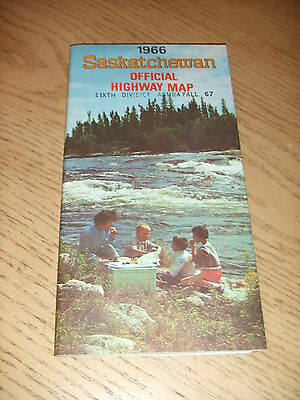 VINTAGE 1966 OFFICIAL Saskatchewan Canada Highway Road Map Tourist Guide Regina