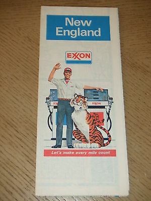 VINTAGE 1978 Exxon Oil Gas New England Area Highway Road Map MA RI CT ME VT NH